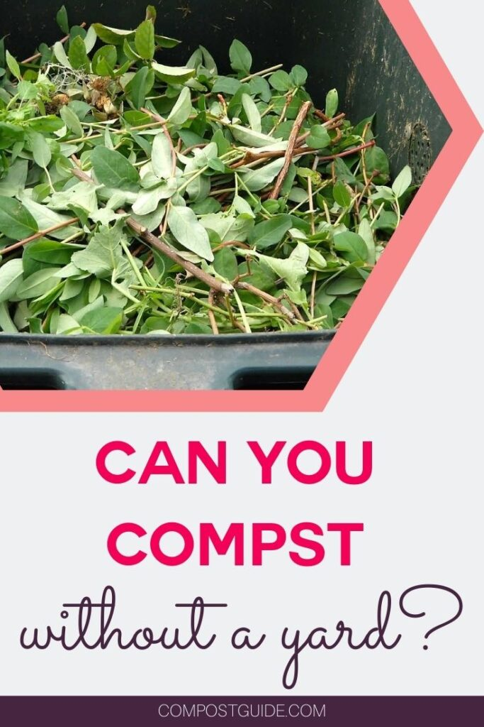 green plant waste in bin with text overlay can you compost with a yard